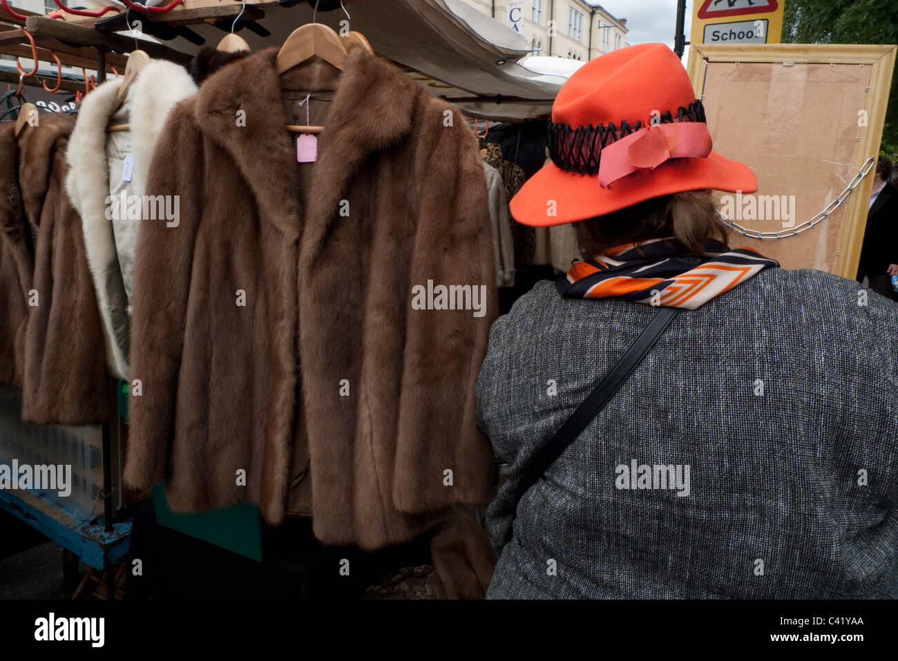 Vintage fur coats and jackets for sale on a Portobello Road market ...