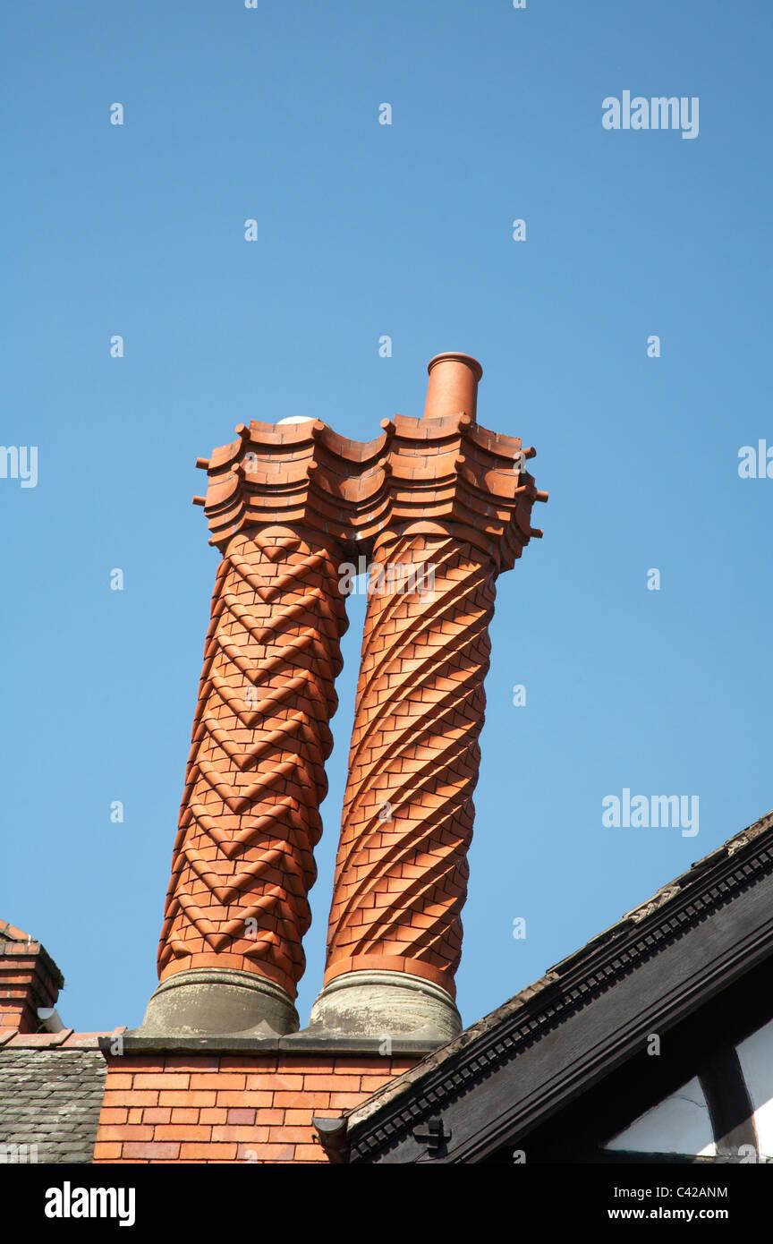 Victorian Chimney Stacks In Decorative Bricks