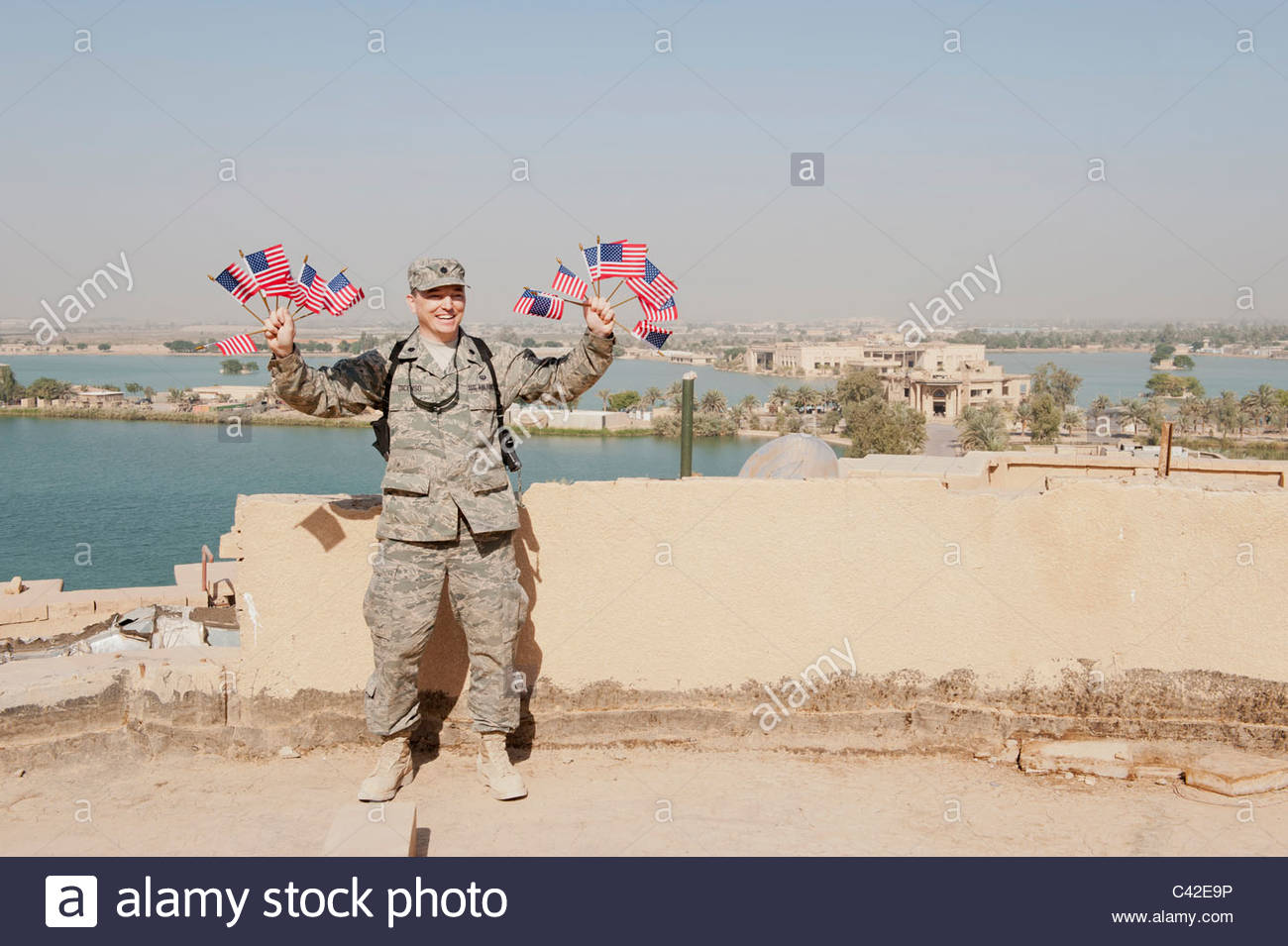 victory flags officer flying roof force air american palace america alamy iraq