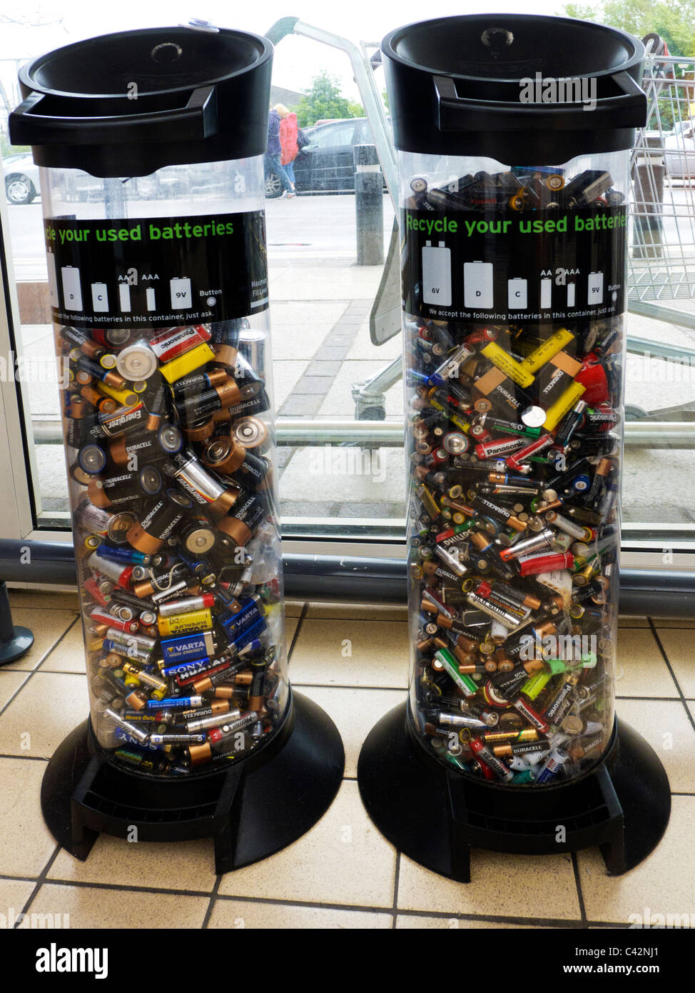 Battery Recycling Container In Public Shopping Area Stock