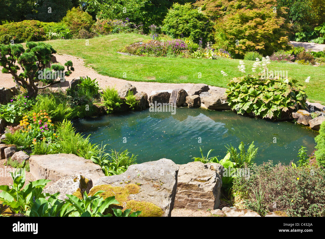 A small pond in the rock garden at rhs wisley surrey for Garden ponds uk