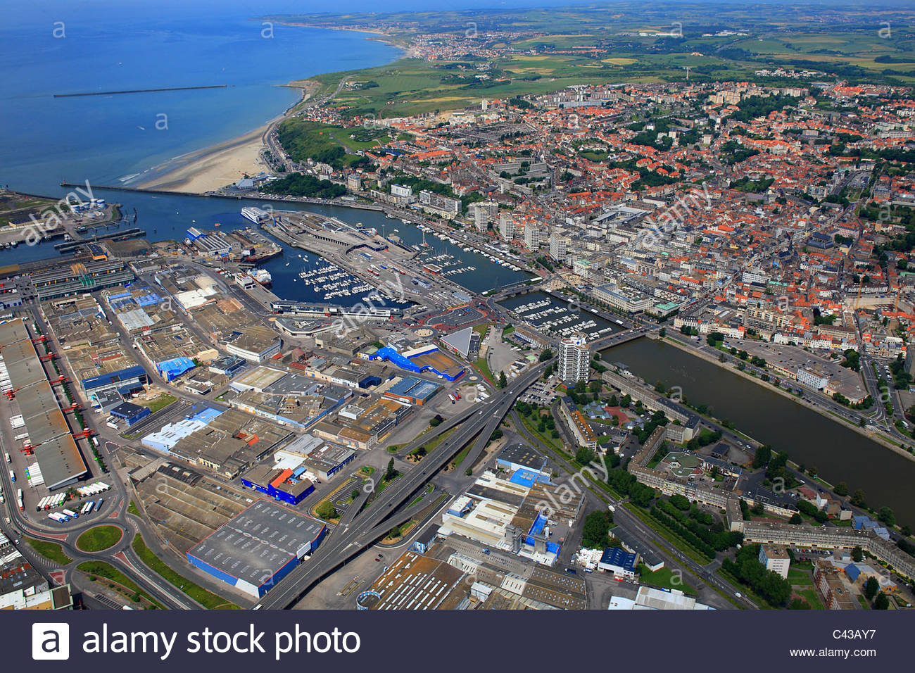 Boulogne-sur-Mer France  city images : France, Pas de calais, Aerial View Of Boulogne Sur Mer Stock Photo ...
