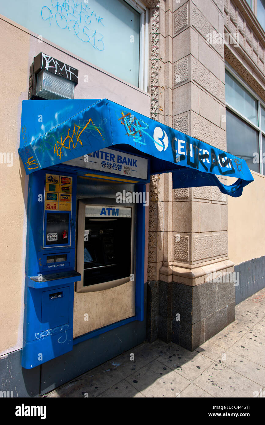 Graffiti ATM with covered canopy Korea Town Los Angeles & Graffiti ATM with covered canopy Korea Town Los Angeles Stock ...