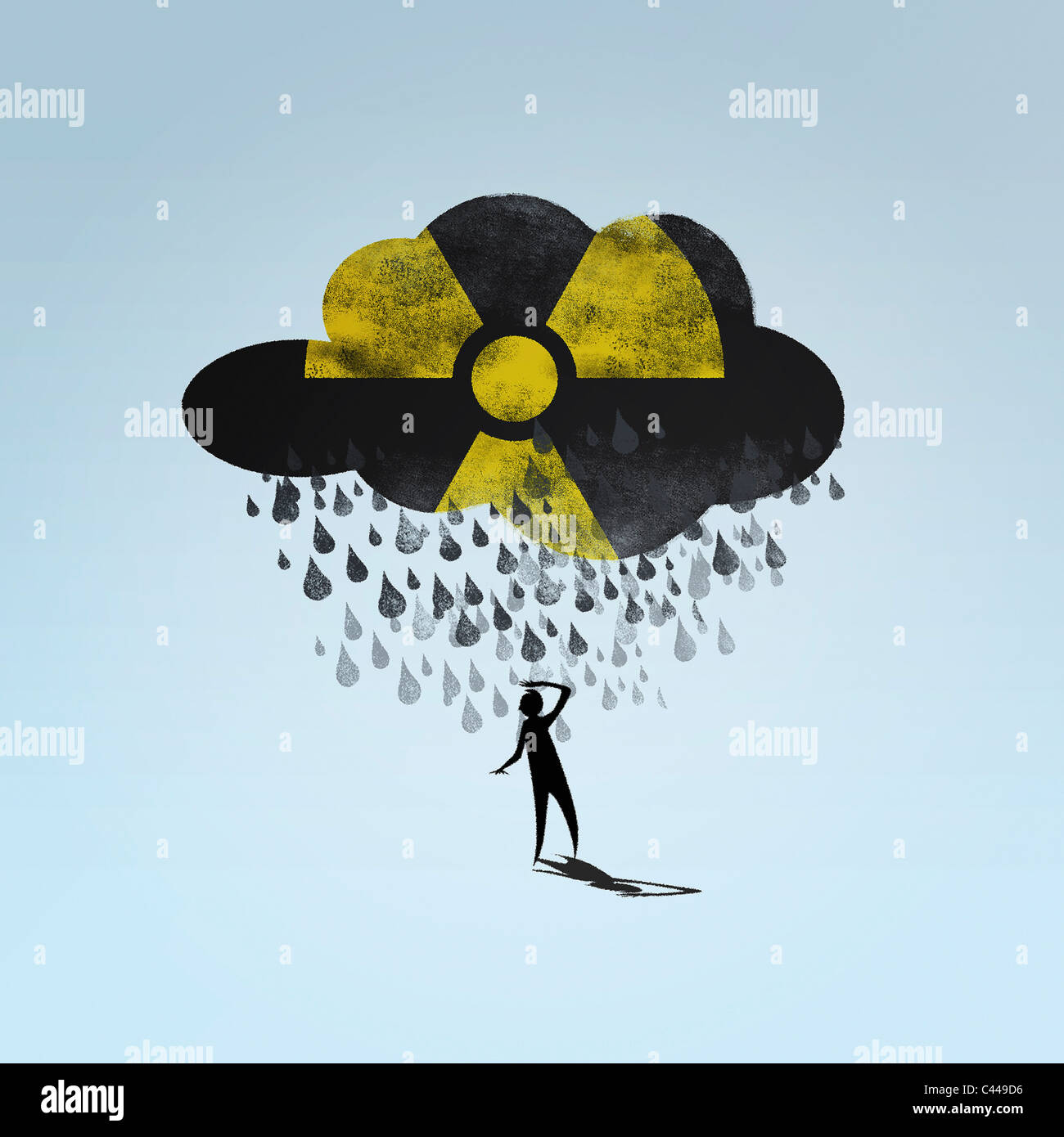 A cloud with a radioactive symbol raining on a person stock photo a cloud with a radioactive symbol raining on a person buycottarizona