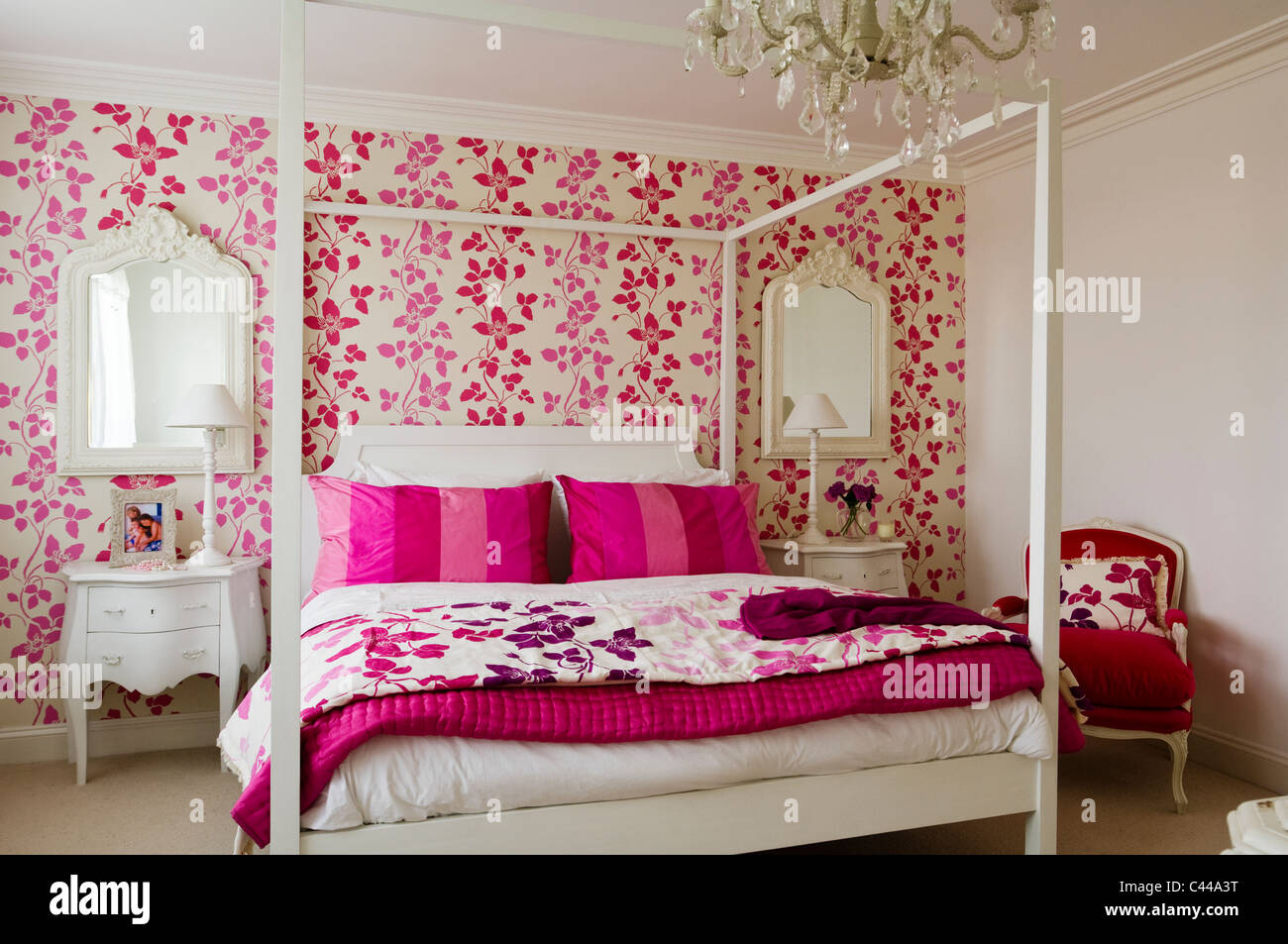 Pink Wallpaper For Bedroom White Fourposter Bed In Bedroom With Designers Guild Pink Floral