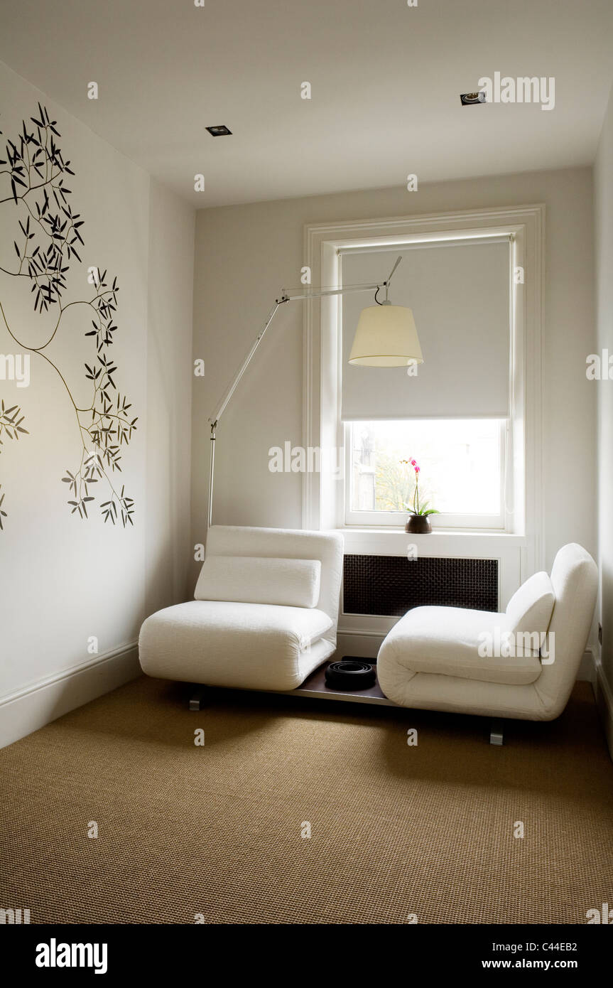 Sofa beds for bedroom - White Futura Sofa Beds By Luigi Recalcati In Modern Bedroom With Tolomeo Artemide Chrome Floor Lamp
