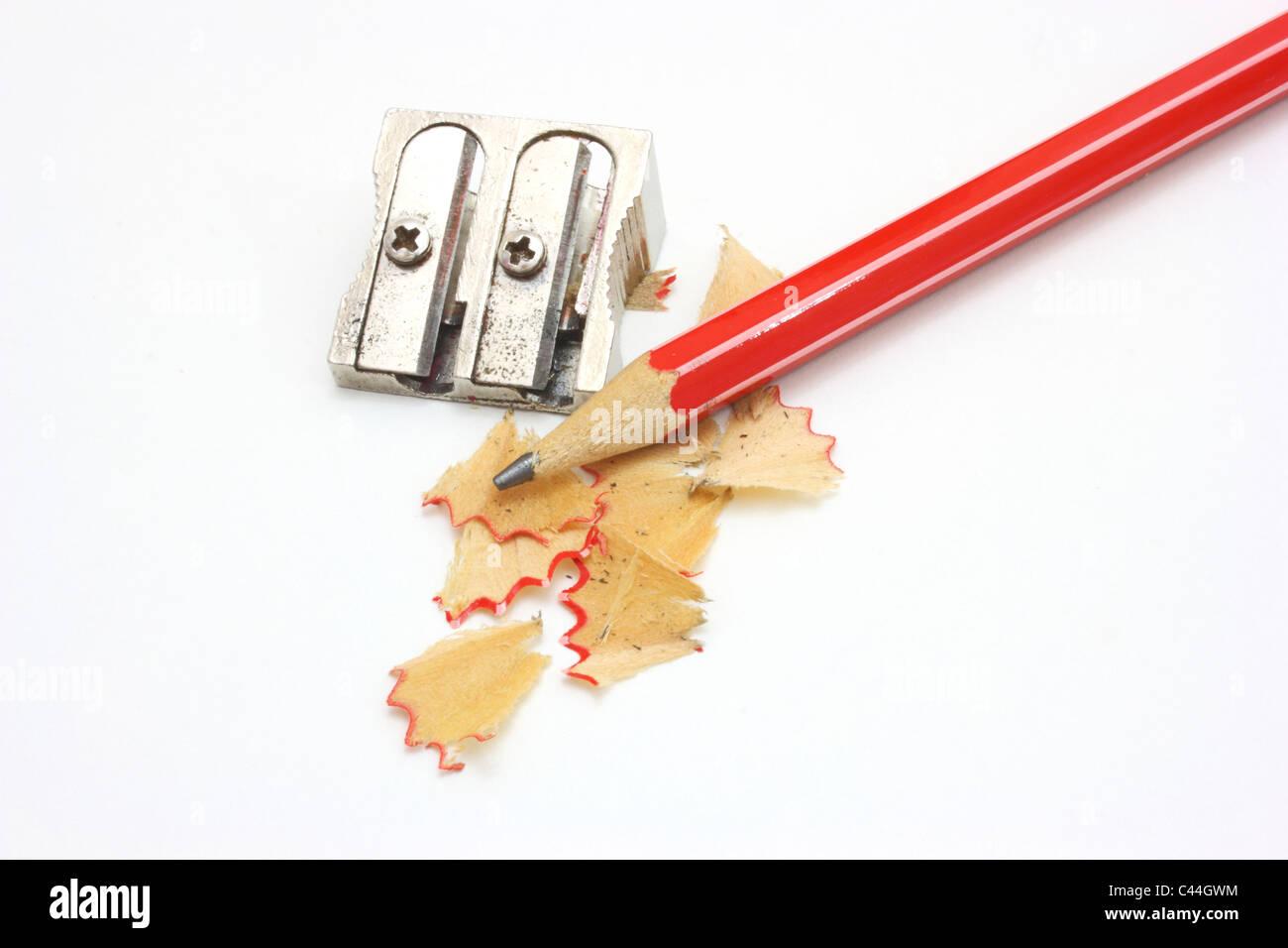 Shot Of Eraser Pencil And Pencil Metal Double Sharpener