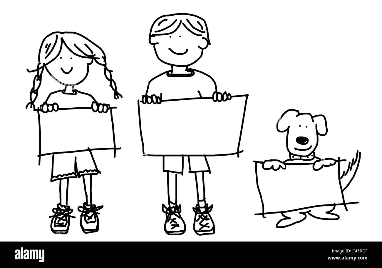 large cartoon characters simplistic black line drawings of two smiling kids and their dog holding