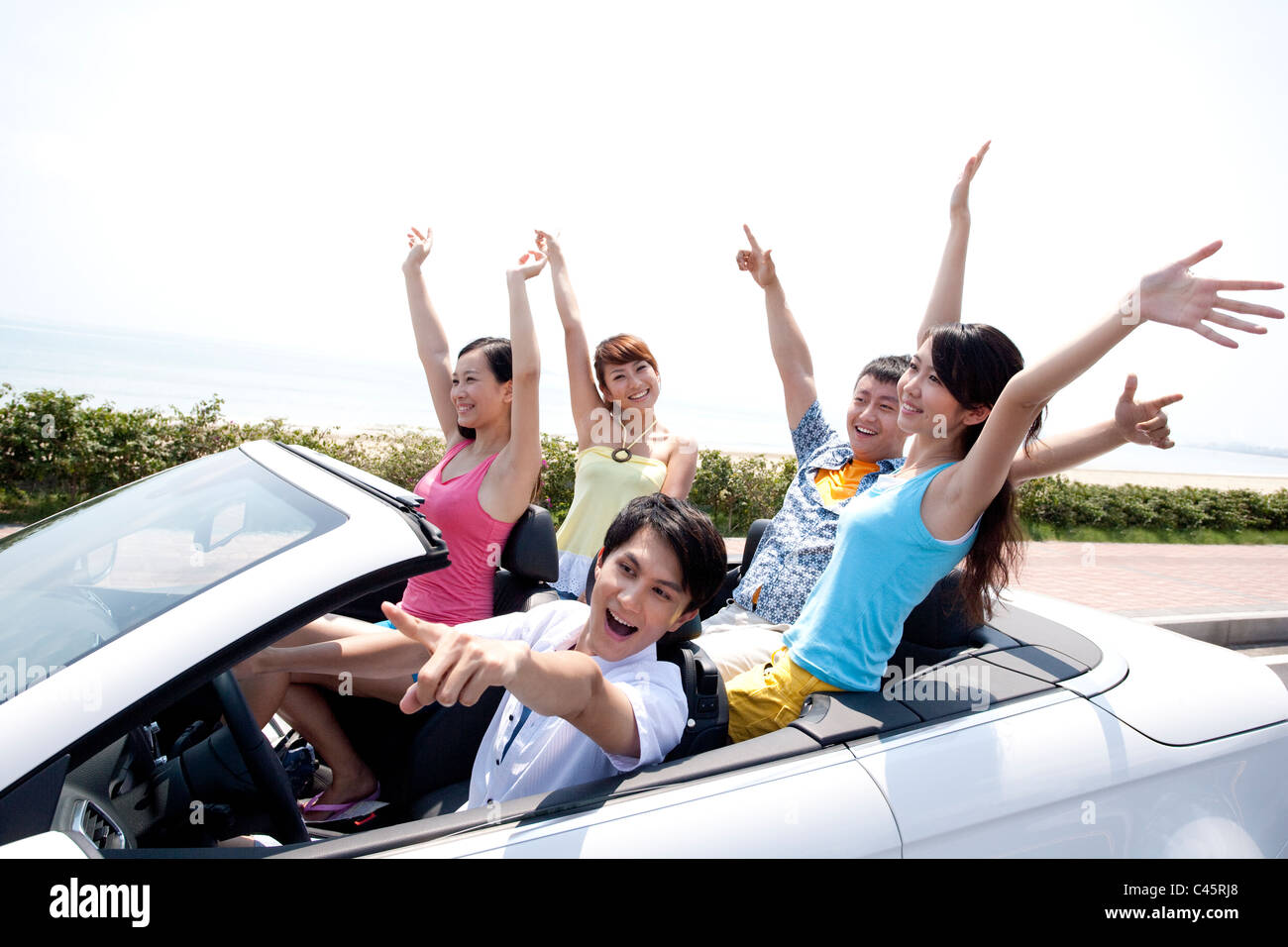 Friends Having Fun in a Convertible Stock Photo, Royalty ...