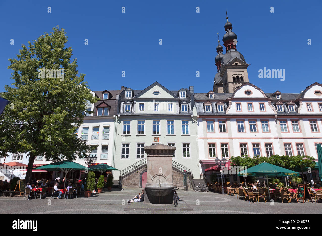 the platz am plan in koblenz with the old fire station in the stock photo royalty free image. Black Bedroom Furniture Sets. Home Design Ideas
