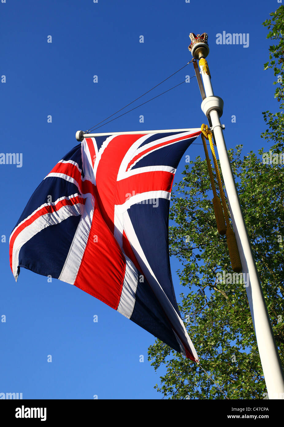the british flag the union jack flying on a crown topped flag