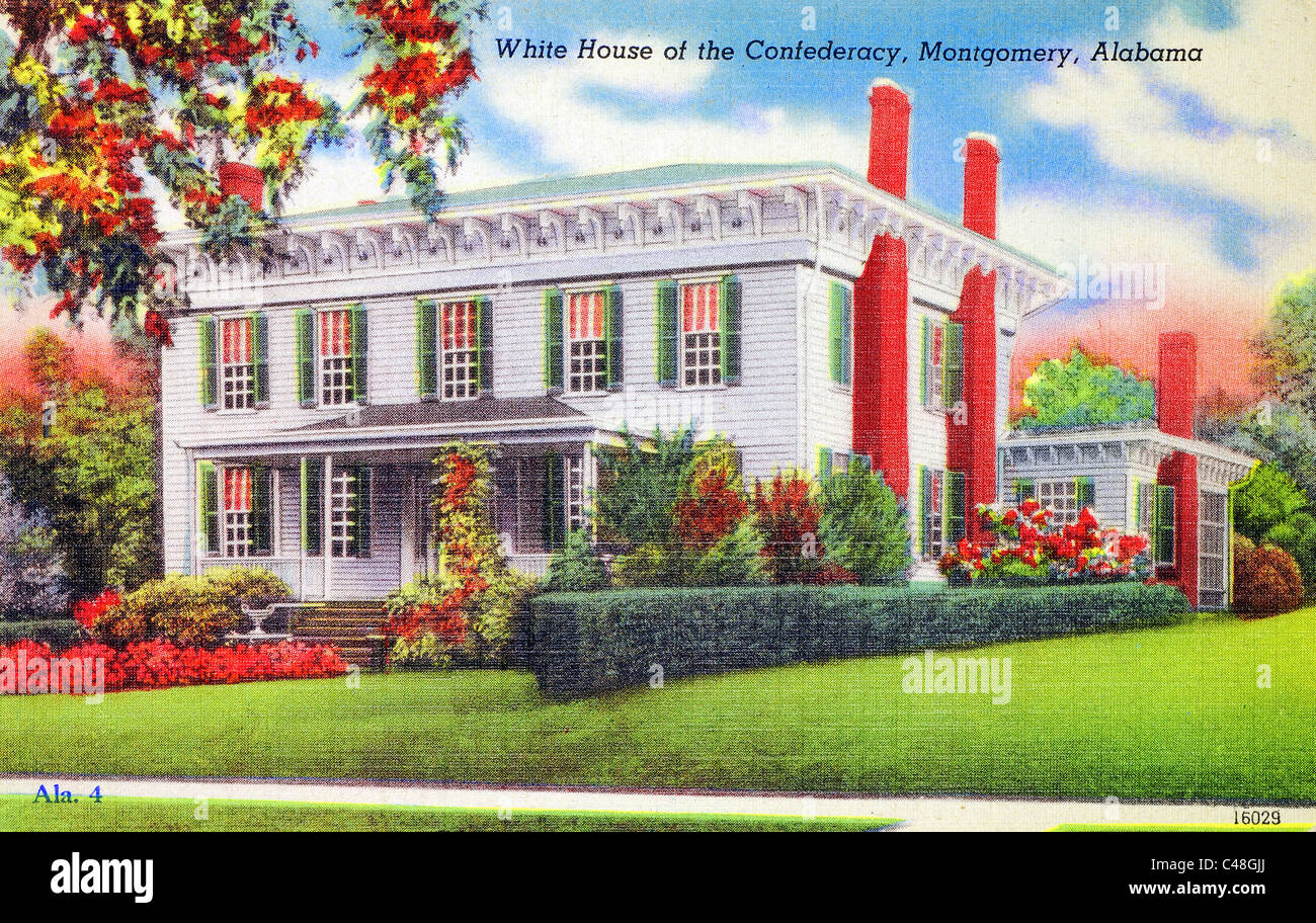 1940\'s vintage postcard of the White House of the Confederacy in ...