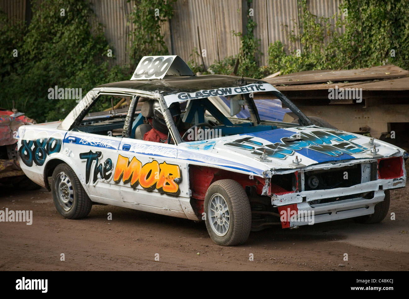 stock photo banger race racing races stock car cars stockcar stockcars demolition derby destruction derbies old scrap junk ready to be smash