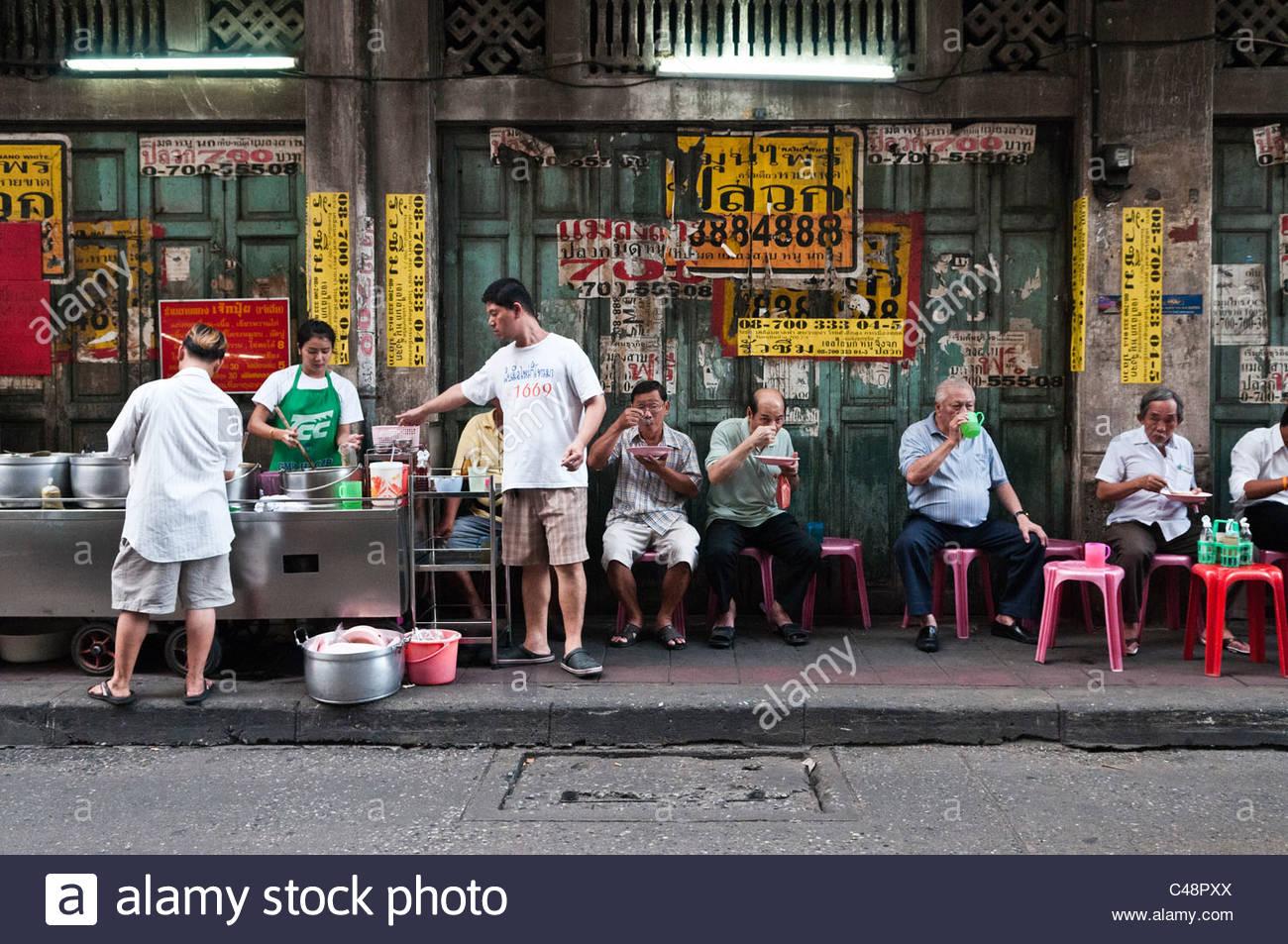 People Eating Thai Street Food Bangkok Thailand Stock