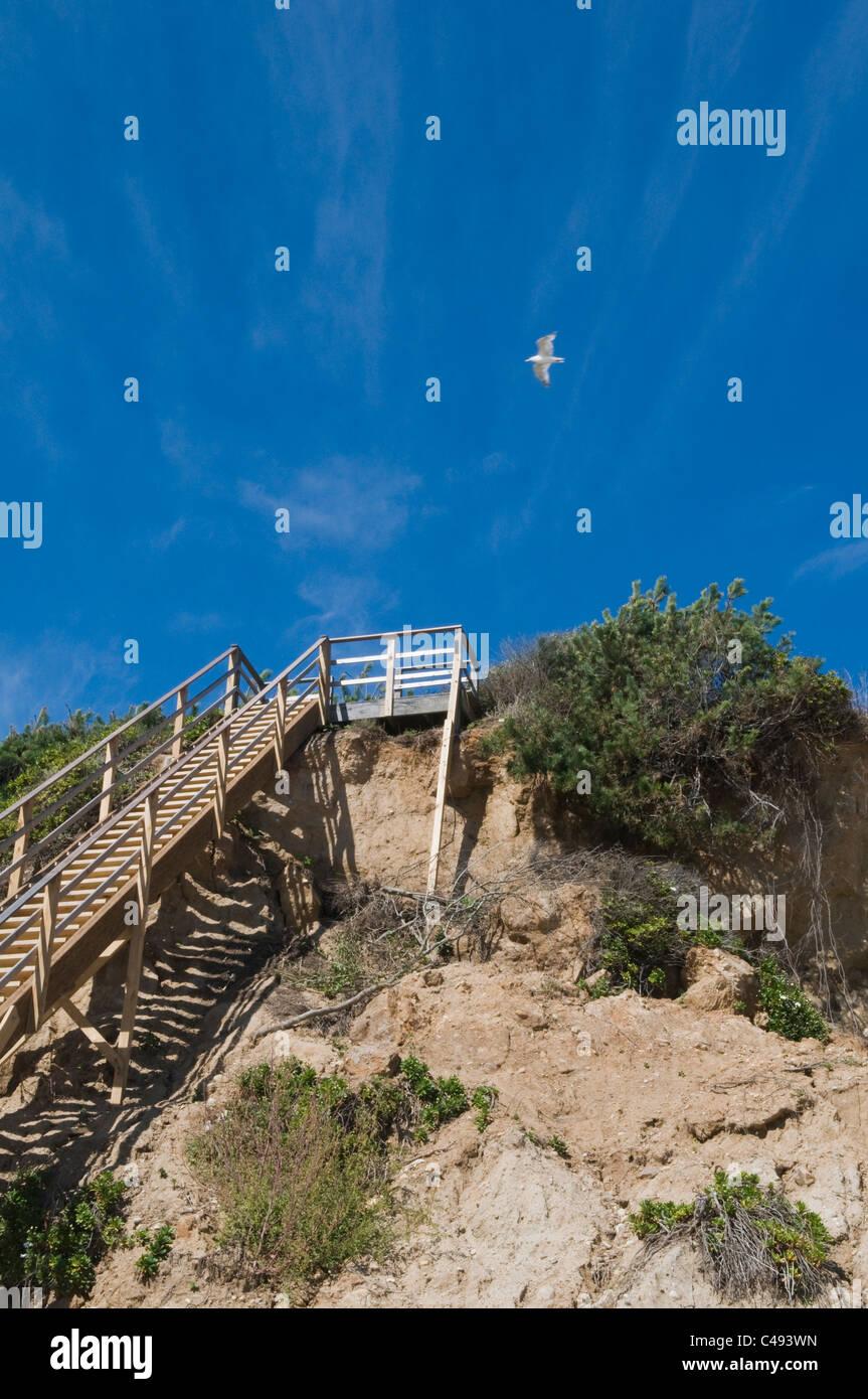 Beach Access Stairs On A Mountainside, Montauk, Long Island, USA