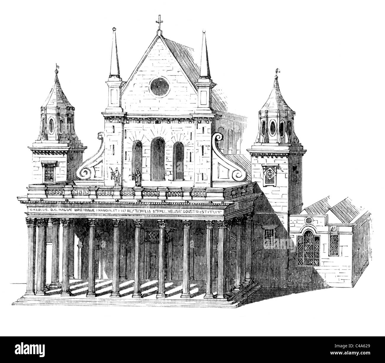 old st pauls cathedral stock photos old st pauls cathedral stock inigo jones portico west end of old st paul s cathedral london black