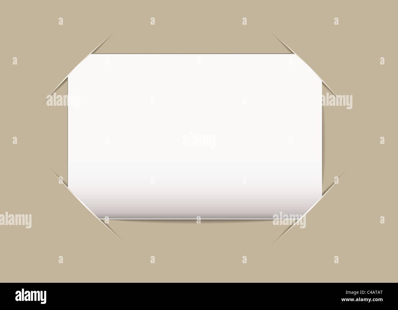 Plain blank business card stuck on beige card background Stock ...