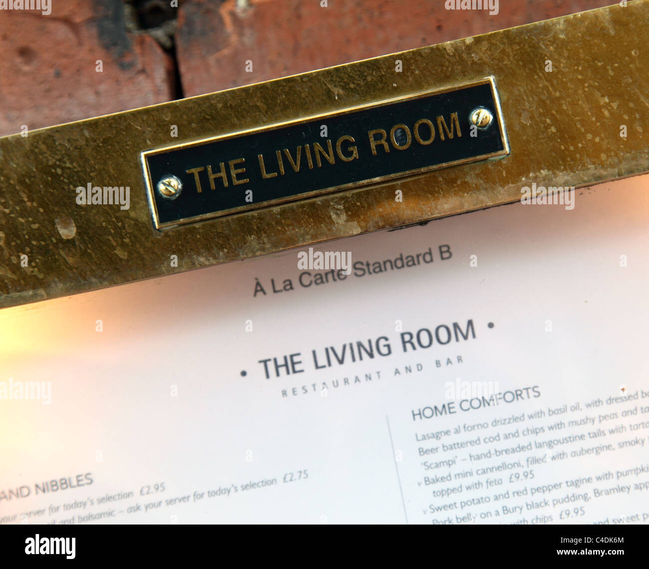 A Menu Outside The Living Room Bar In Nottingham England UK