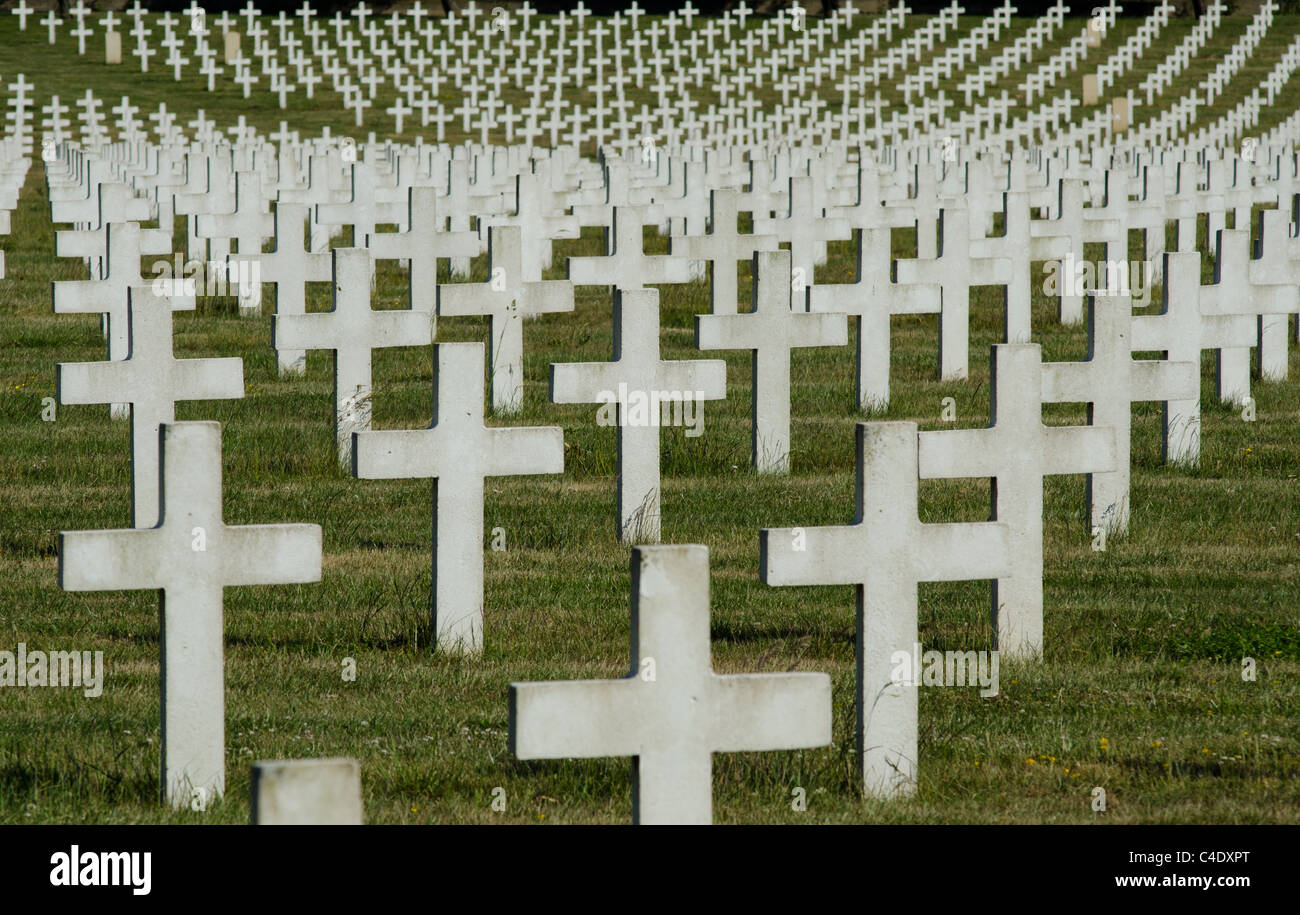 mass of crosses in french first world war cemetery at la targette