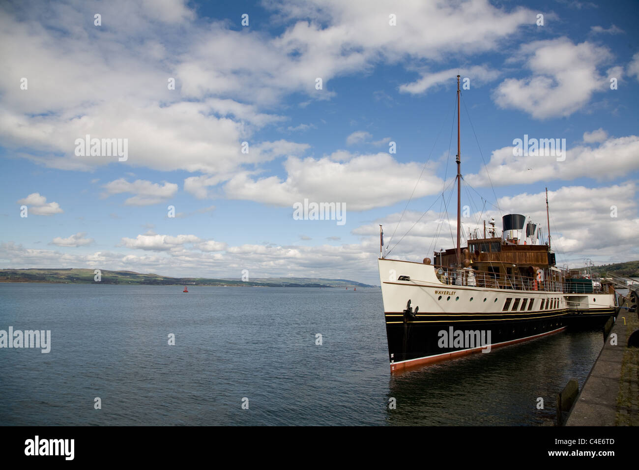 Steam Paddle Boat Waverely In Greenock Harbour