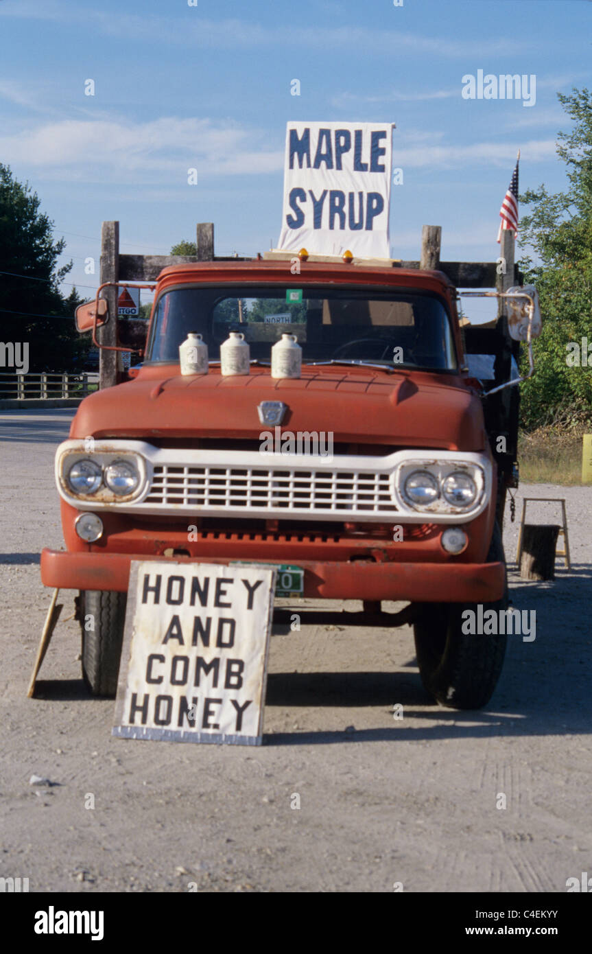 Vermont. Maple syrup for sale along the side of road in old ford ...