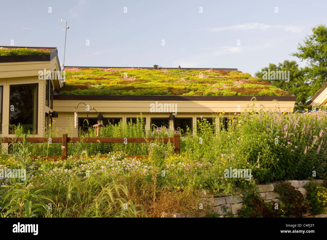 Lebanon Hills Visitor Center In Eagan Minnesota Showing Vegetation On Green  Roof And Native Plant Gardens In Foreground