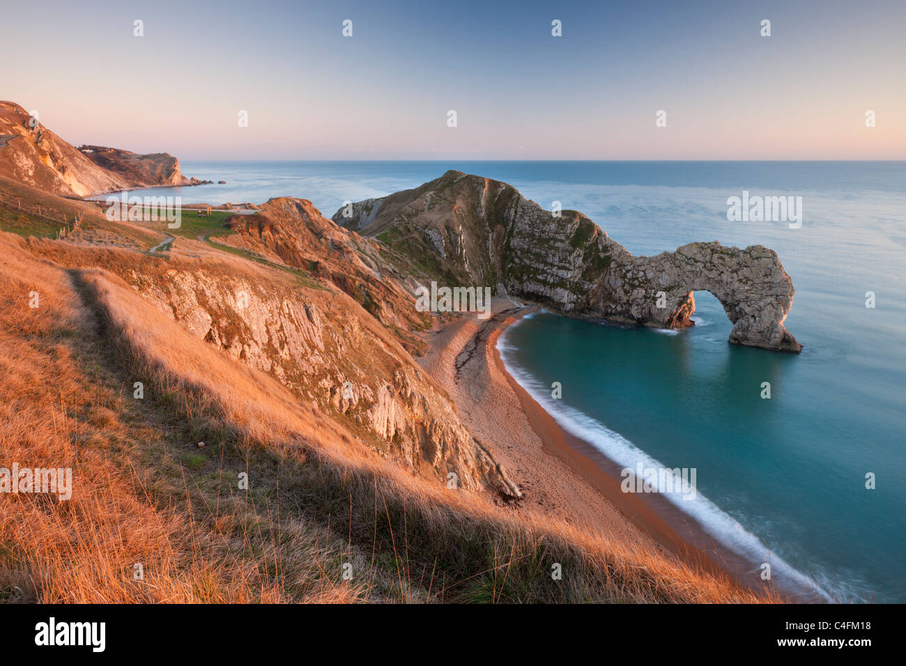 View from cliff tops down into Durdle Door Dorset England. Winter (January) 2011 & View from cliff tops down into Durdle Door Dorset England ...