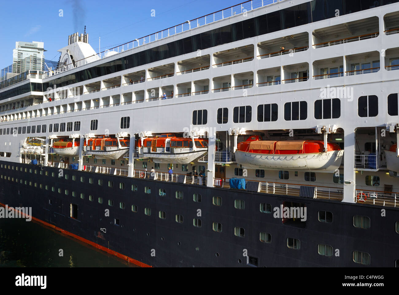 Port Side View Of The Cruise Ship Statendam With Its Many - Port side of a cruise ship