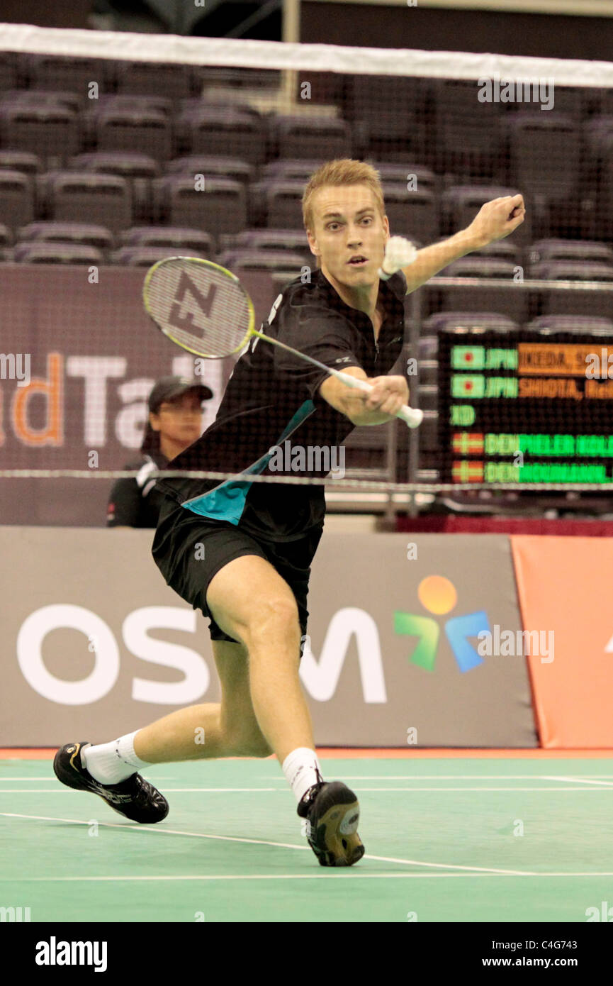 Mads Pieler Kolding of Denmark during the Mixed Doubles Round 1 of