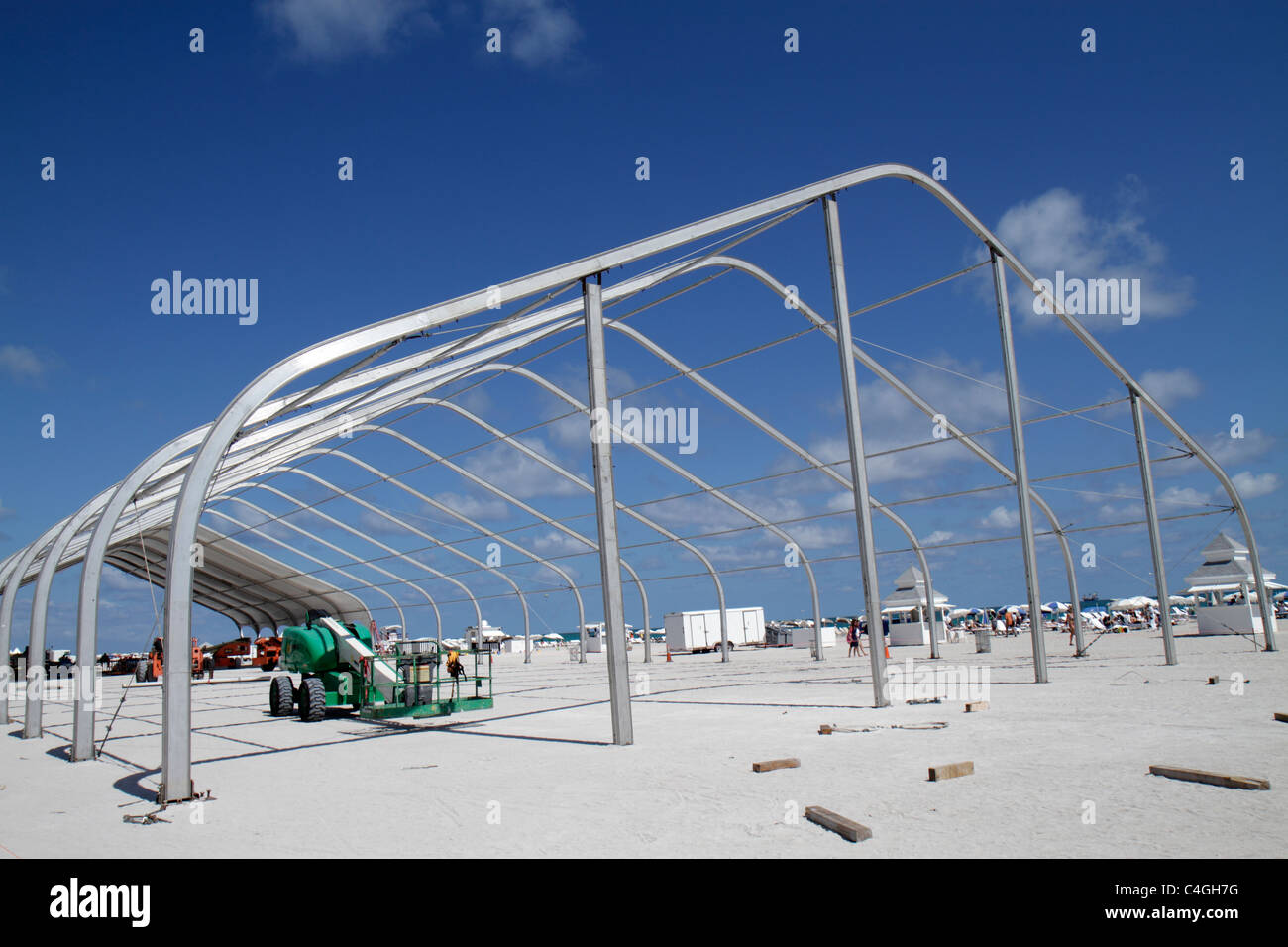Miami Beach Florida temporary tent pavilion construction frame framework metal aluminum public beach & Miami Beach Florida temporary tent pavilion construction frame ...
