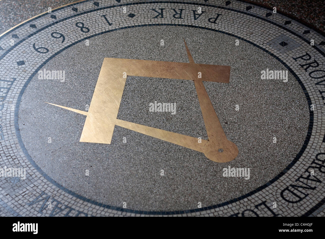 Square And Compass Masonic Symbol Set Into The Floor At