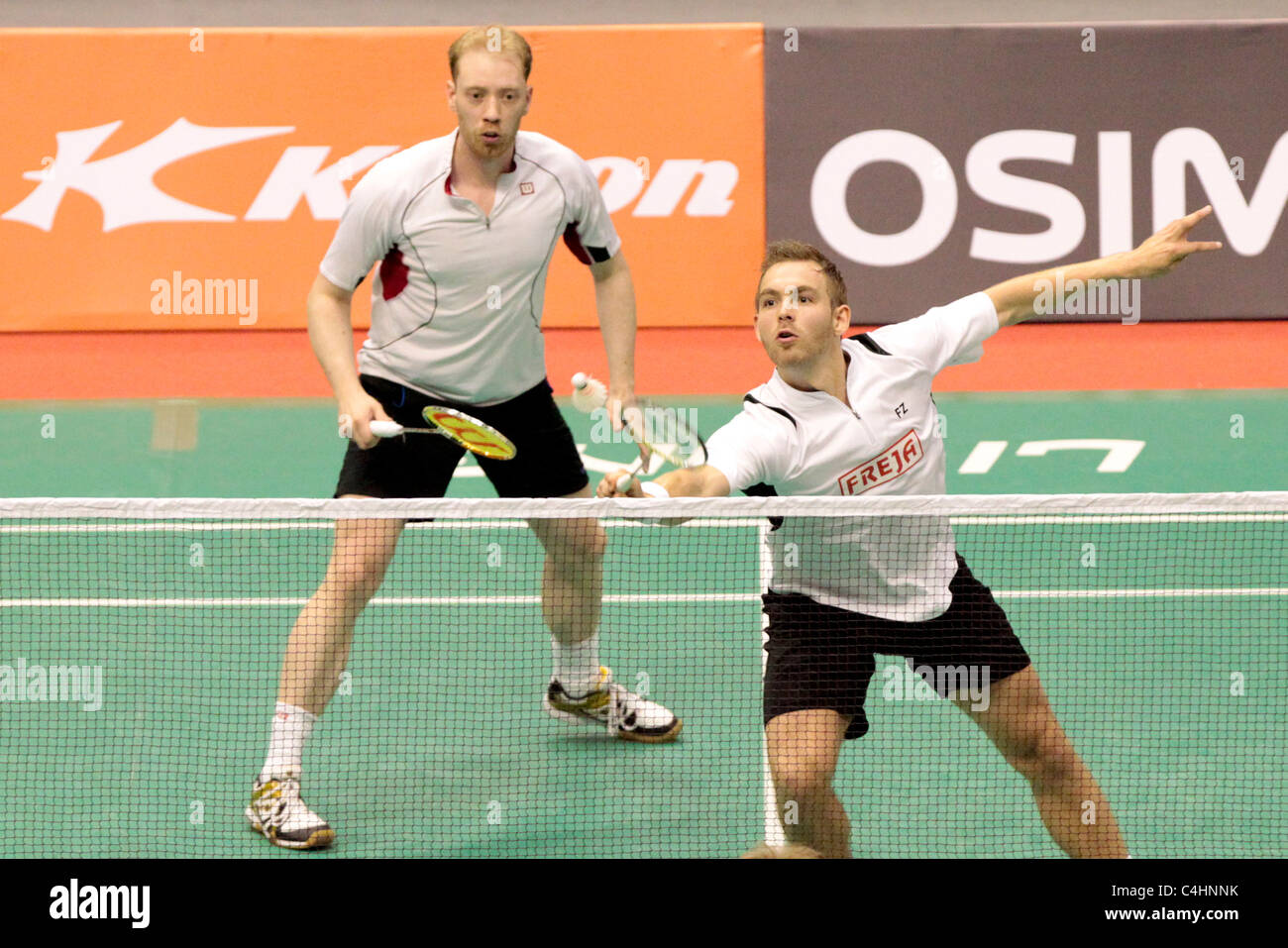Mads Conrad Petersen and Jonas Rasmussen of Denmark during their