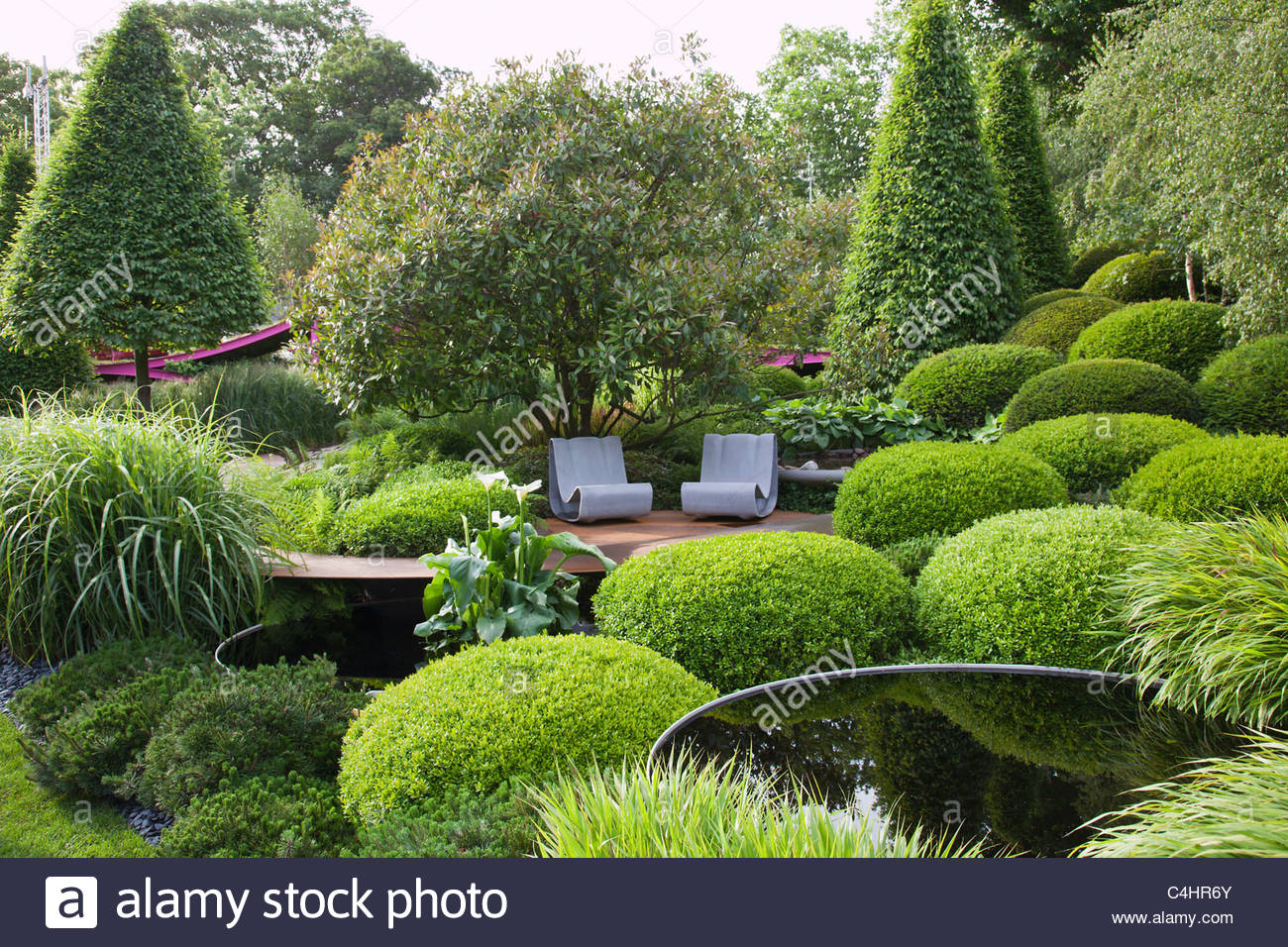 Wonderful Topiary Box Part - 12: A Contemporary Green Garden With Grasses, Topiary Box Mounds, Pool And  Seats. Designer