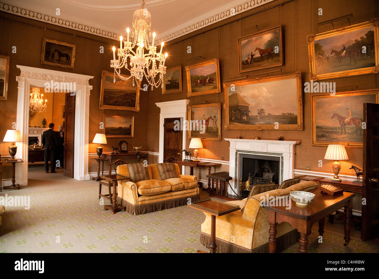 The morning room with famous art collection inside the for Puerta 4 jockey club
