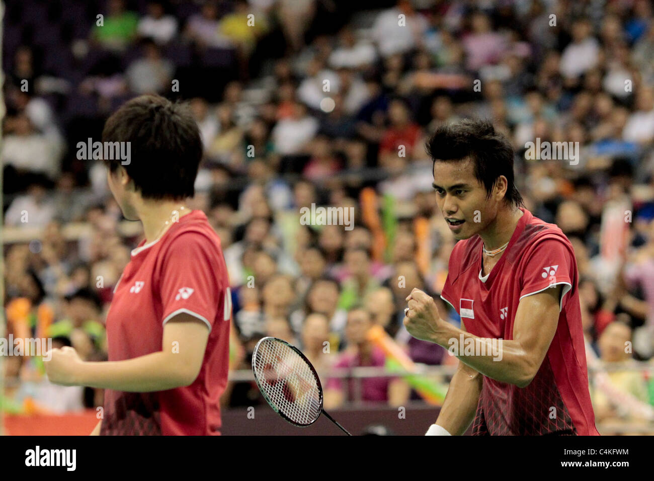 Tantowi Ahmad and Liliyana Natsir of Indonesia during their Mixed