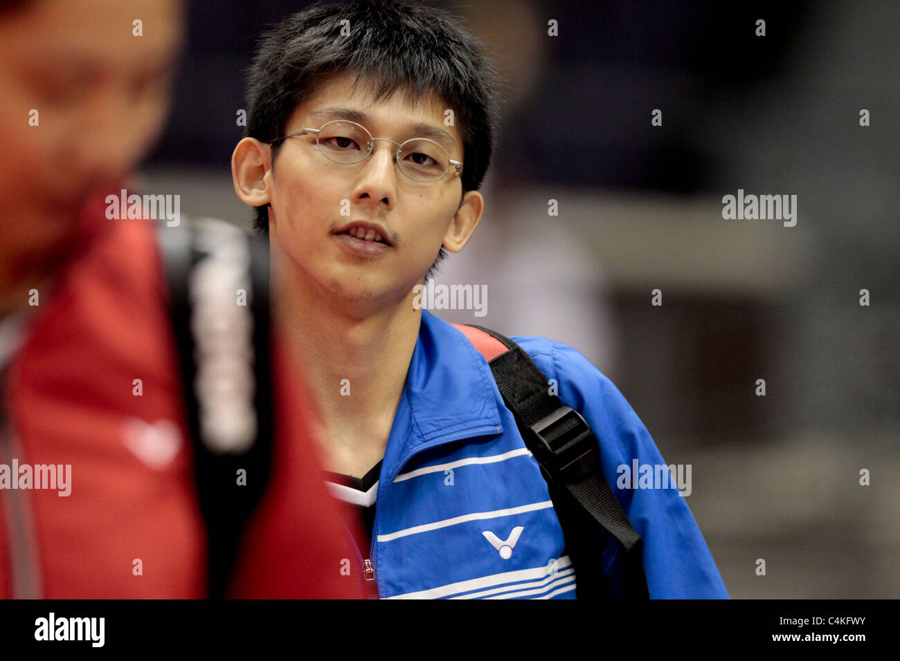 Chen Hung Ling of Chinese Taipei walks to the court for their