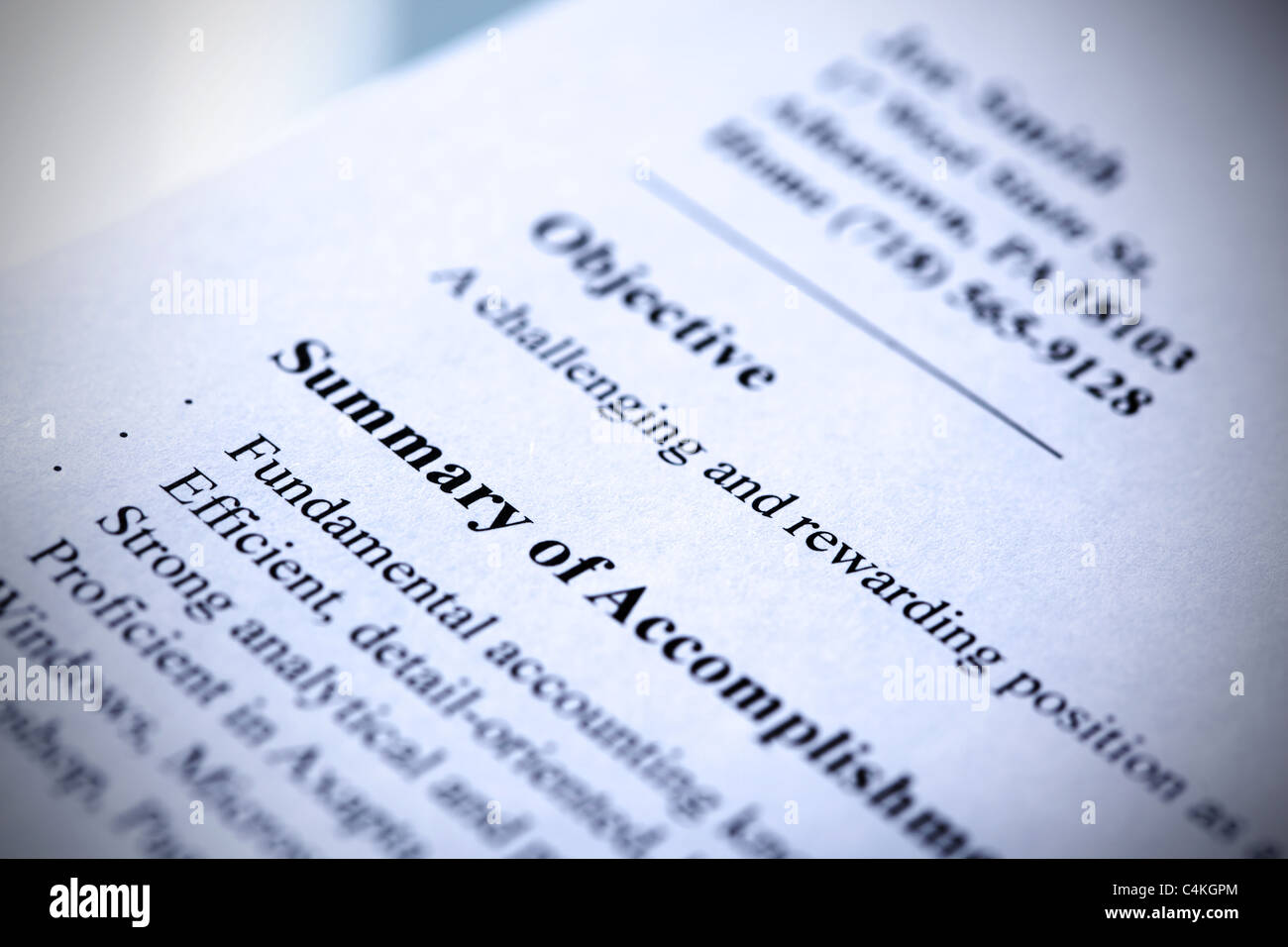 Modern Resume Close Up Blue Tint With Shallow Dof Tilt View Stock