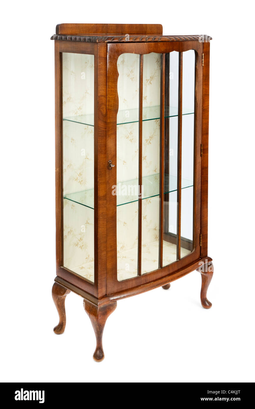 Antique walnut and glass display cabinet stock photo for Antique display cabinet