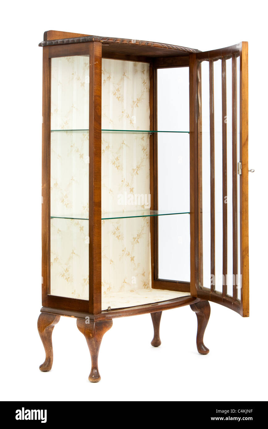 antique walnut and glass display cabinet