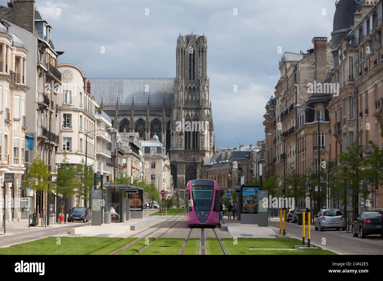 france reims tram tramway train rail cathedral city stock photo royalty free image. Black Bedroom Furniture Sets. Home Design Ideas