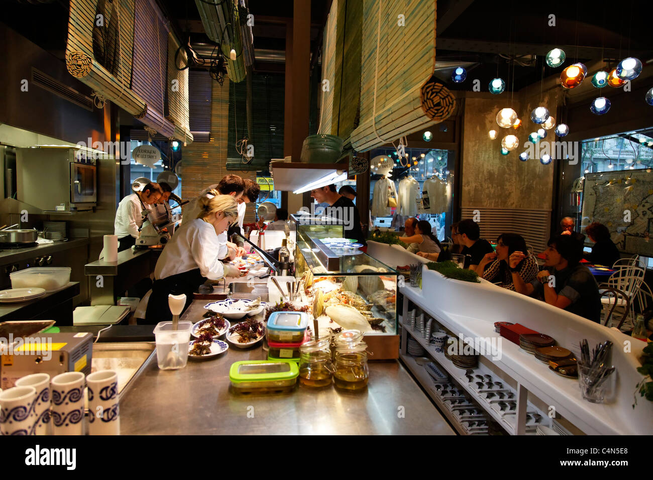 stock photo the kitchen at tickets a tapas bar by ferran and albert adria in barcelona