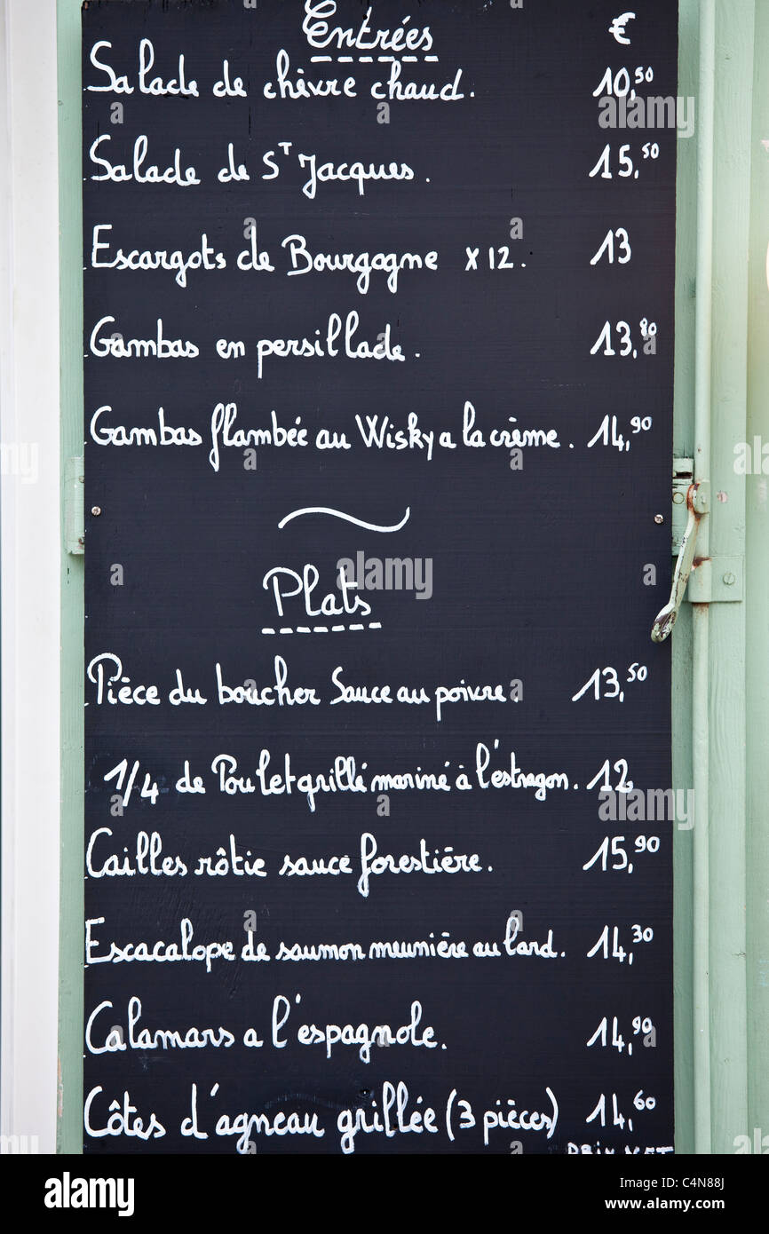 Traditional french cafe menu of entrees and plats in for French canape menu
