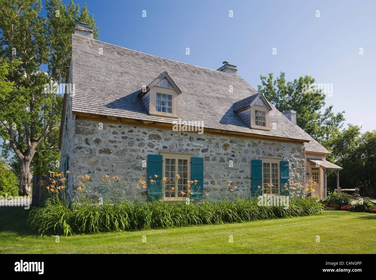 18th century fieldstone cottage style home, Quebec, Canada Stock ...