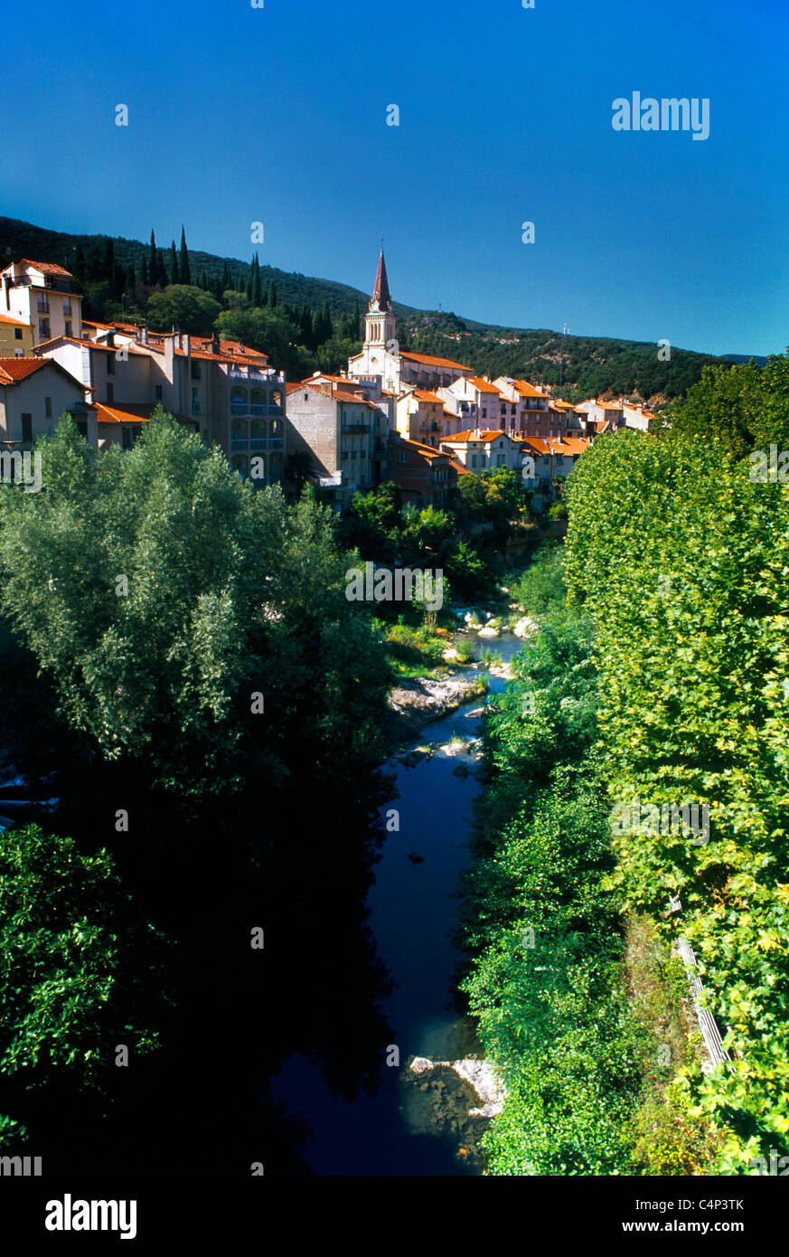 amelie les bains palalda france languedoc roussillon view of town and stock photo royalty free. Black Bedroom Furniture Sets. Home Design Ideas