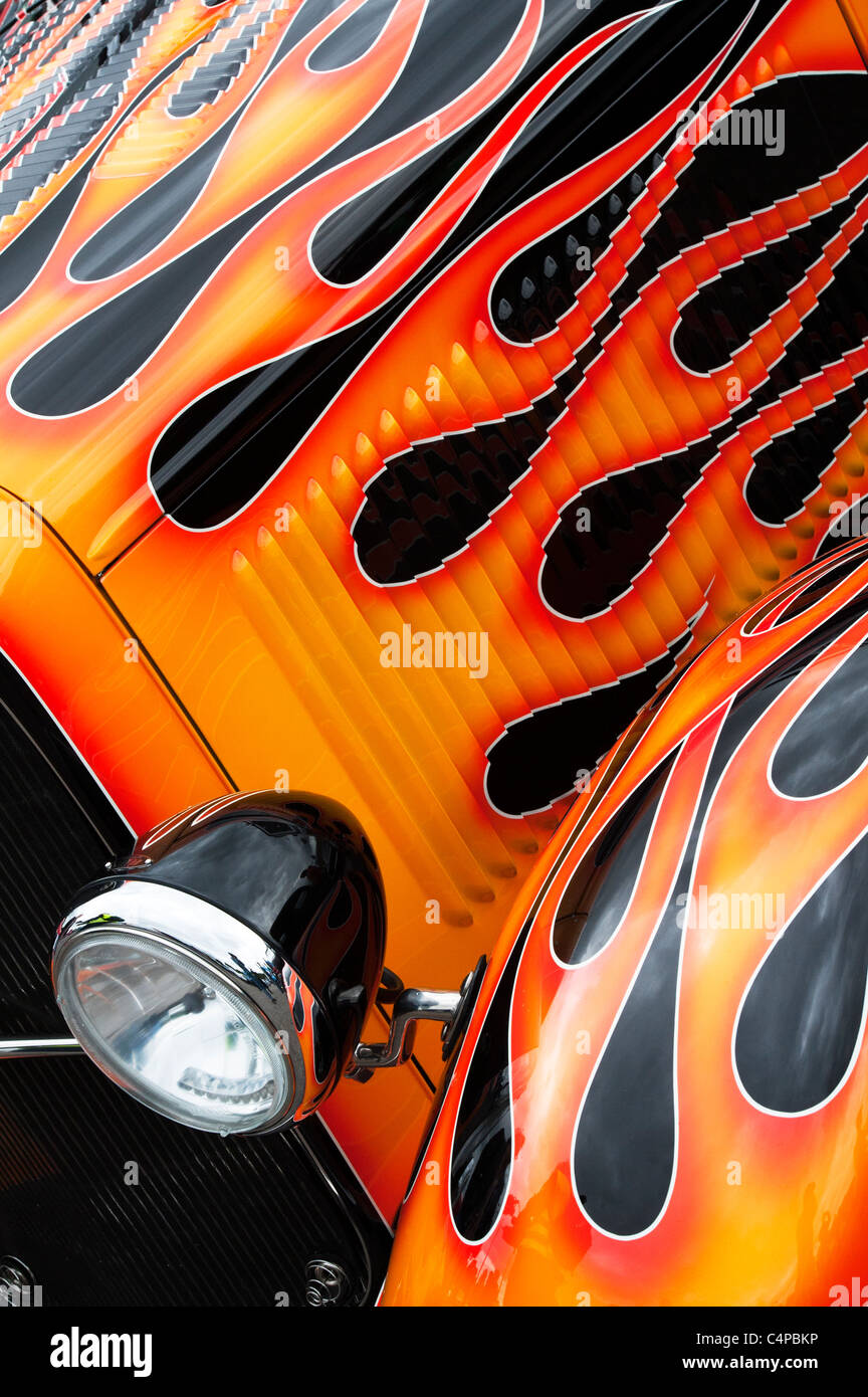 ford hotrod custom car and flames detail stock image