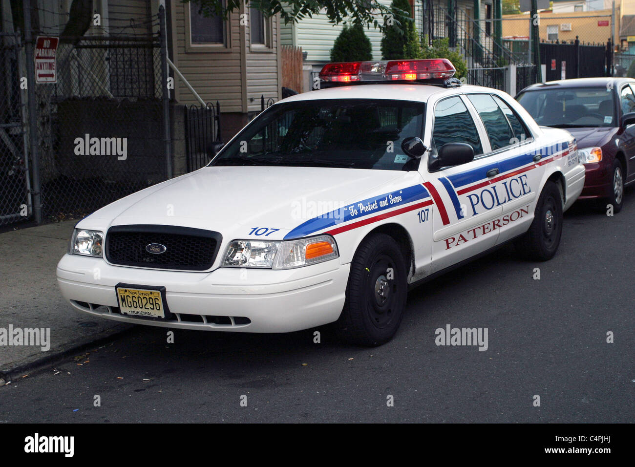 Ford crown victoria patrol car paterson police department new jersey stock image
