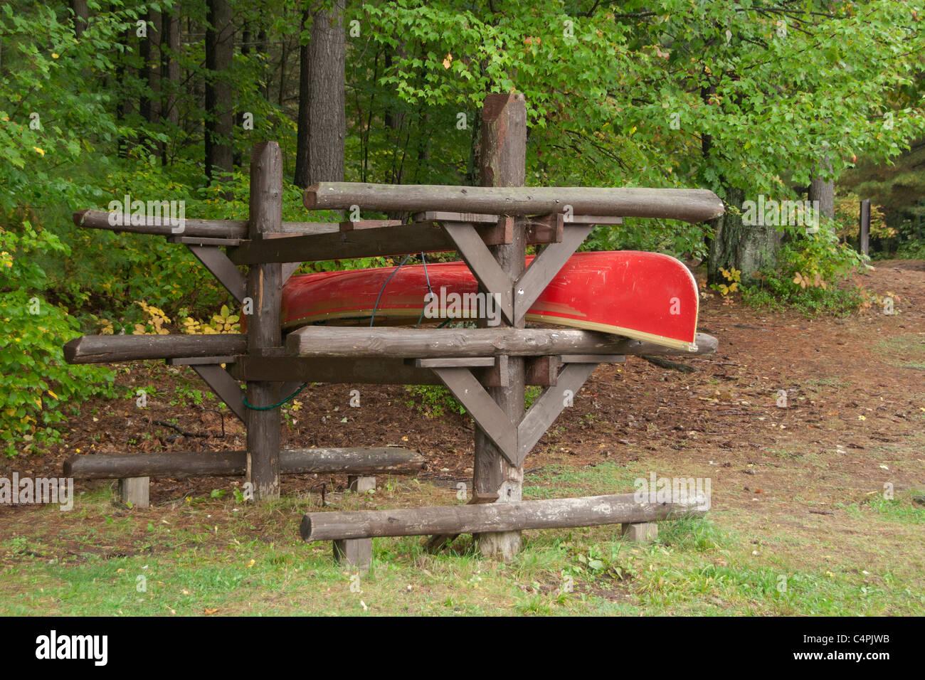 High Quality Canoe In Wooden Canoe Storage Rack, Bon Echo Provincial Park, Ontario,  Canada