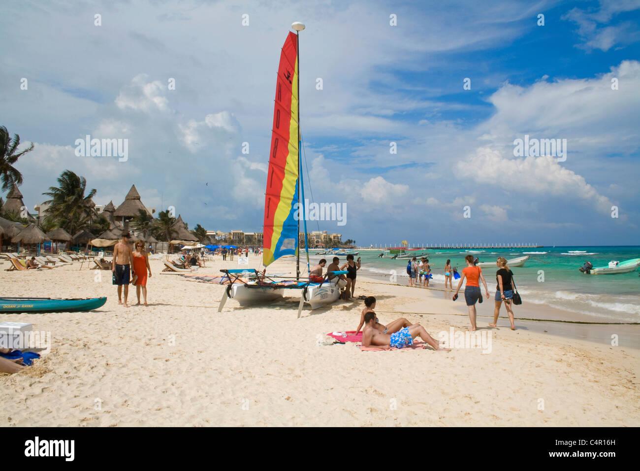People At The Beach Of Playa Del Carmen Mexico Caribbean Stock