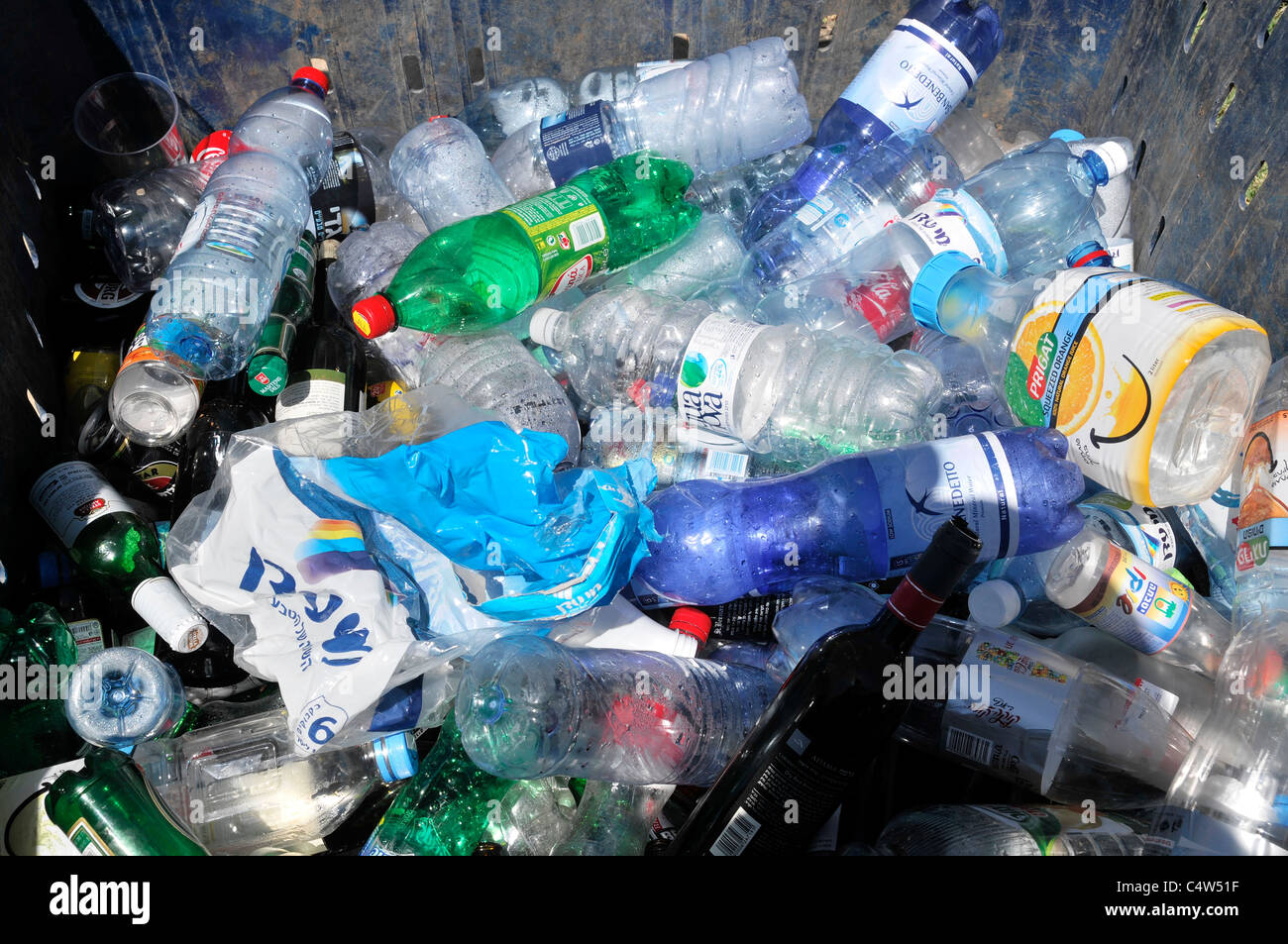 Plastic Bottle Recycling Glass And Plastic Bottles Recycling Bin Stock Photo Royalty Free