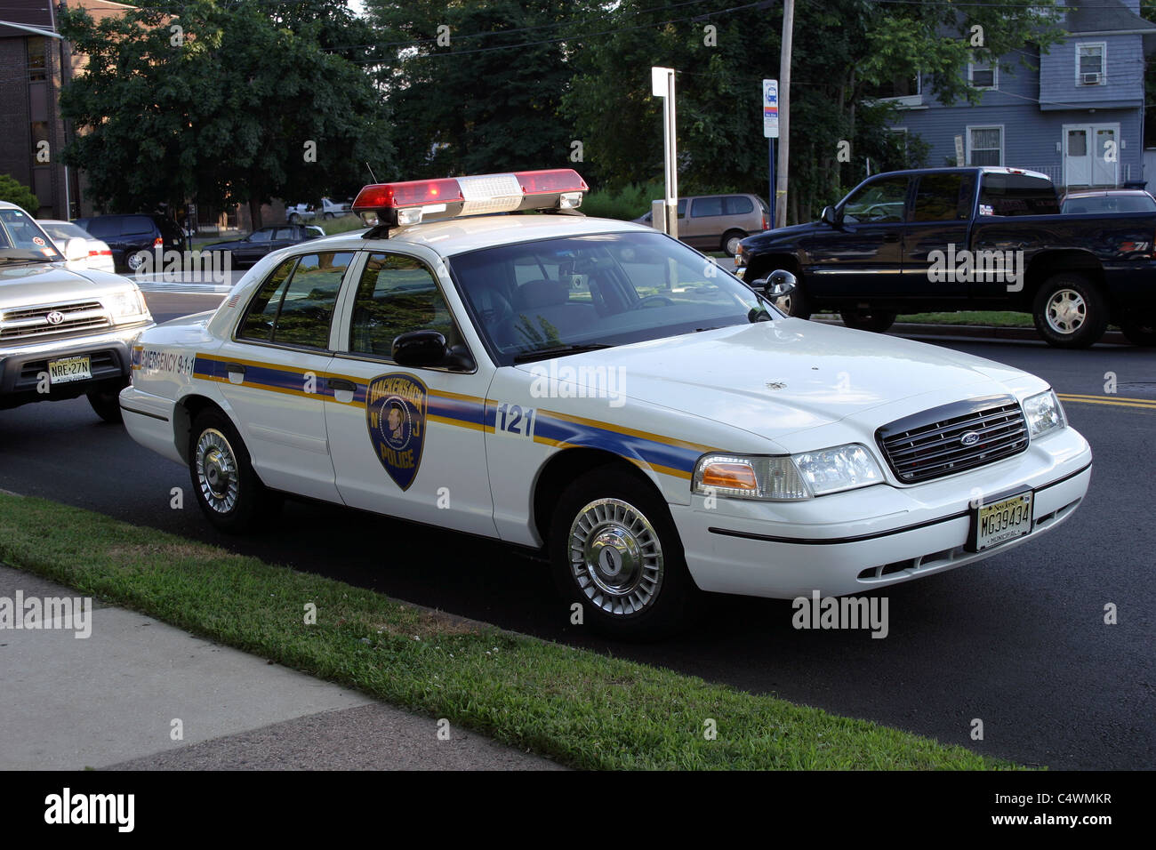 interceptor in white rear angle view b90r74 rm ford crown victoria police car hackensack police department stock image
